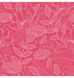 Red White Line Art flowers seamless pattern vector image vector image