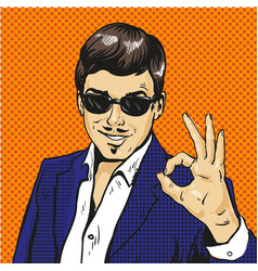 retro businessman ok gesture pop art comic vector image vector image