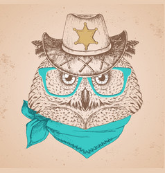 retro hipster bird owl hand drawing muzzle vector image vector image