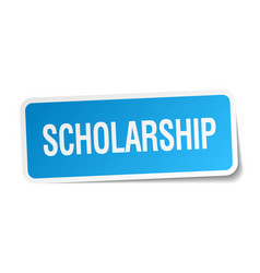 Scholarship blue square sticker isolated on white vector