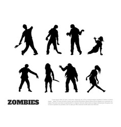 set of black silhouettes of zombies vector image
