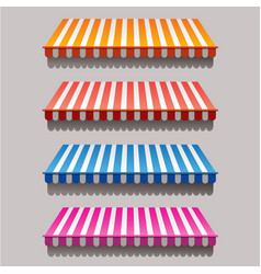 set of striped awnings for shop and marketplace vector image