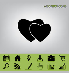 Two hearts sign black icon at gray vector