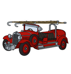 Vintage red fire truck vector