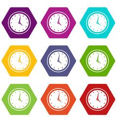 watch icon set color hexahedron vector image