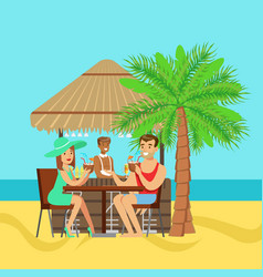 young couple sitting at the cafe near the beach vector image vector image