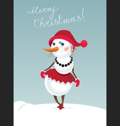 Christmas snowman girl vector