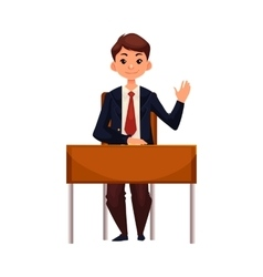 Clever school boy sitting at desk raising hand to vector