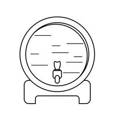 Wine barrel faucet wooden thin line vector
