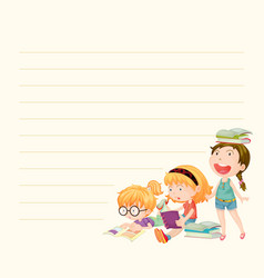 Line paper template with girls reading books vector