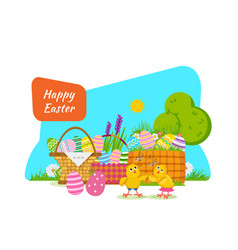 Two chicks frolic have fun next to easter basket vector