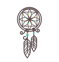 Handmade wicker dreamcatcher with feathers and vector