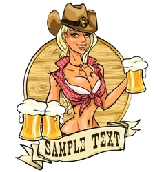 Sexy cowgirl with glasses of beer vector