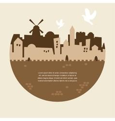 Skyline of old city of jerusalem vector