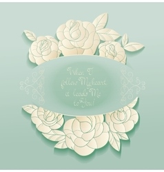 Vintage card roses bouquet romantic quotes vector