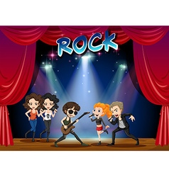 Rock band playing on stage vector
