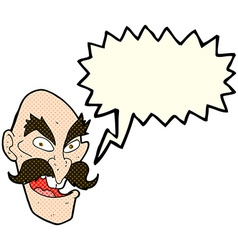 Cartoon evil old man face with speech bubble vector