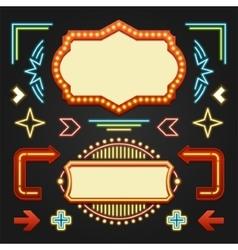 Retro Showtime Signs Design Elements Set Bright vector image