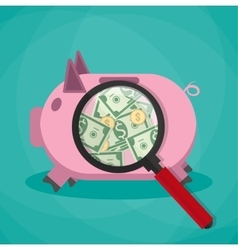 Magnifier on a pink piggy bank and see money cash vector
