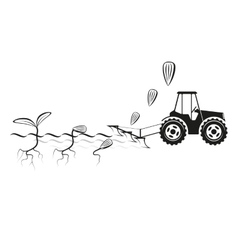 Farmer seeding crops at field vector