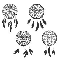 Set of freehand dreamcatchers ethnic vector