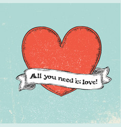 All you need is love text on vintage ribbon over vector