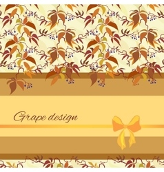 Background with pattern of autumn wild grape vector image vector image