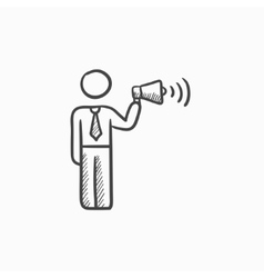 Businessman with megaphone sketch icon vector image vector image