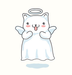 cartoon cat pictured as a little angel with wings vector image vector image