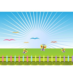 Cartoon landscape background vector image vector image