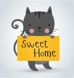 Cat pet animal holding clean welcome sweet home vector