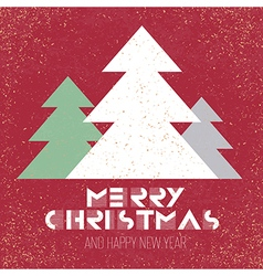 christmas poster retro red with xmas tree vector image vector image