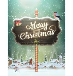 Christmas vintage greeting card on winter village vector image