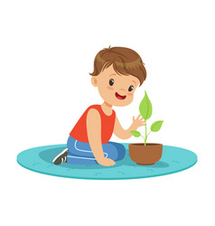 cute little boy at a practical biology lesson vector image vector image