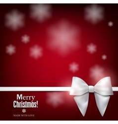 Elegant Christmas background with white bow vector image vector image