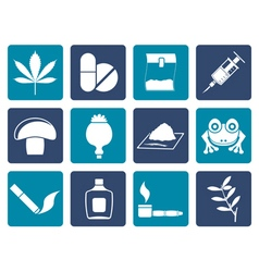Flat Different kind of drug icons vector image