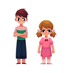 frowned kids boy arms crossed on breast girl vector image
