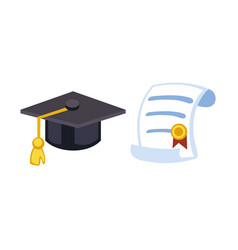 graduation cap diploma hat icon celebration vector image
