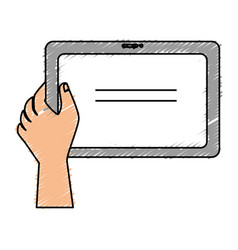 Hand human with tablet vector