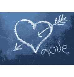 Heart shape chalk drawing vector image vector image