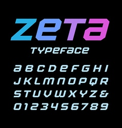 Italic square font alphabet with latin letters and vector