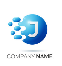 J letter splash logo blue dots and circle bubble vector
