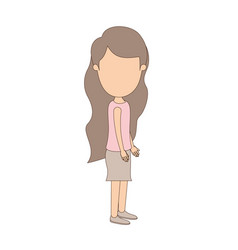 Light color caricature faceless full body girl vector