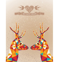 Merry Christmas colorful reindeers shape vector image