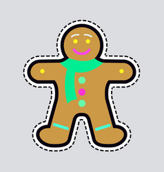 New year decorated gingerbread in shape of man vector