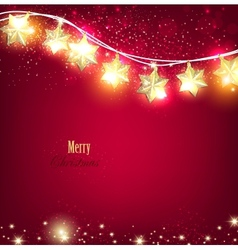 Red Christmas background with luminous garland vector image