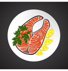 Salmon steak vector