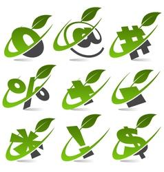 Swoosh green symbols logo set5 vector