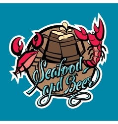 Logo seafood and beer lettering crayfish and crab vector
