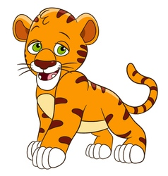 Happy cartoon tiger vector